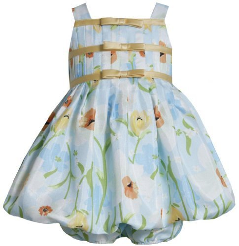 Aqua-Blue Yellow Floral Border Print Shantung Bubble Dress AQ1MH, Aqua, Bonni...