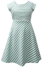 Aqua Ivory Sequin Bodice Cross Over Back Stripe Knit Dress AQ4BA, Aqua, Bonni...