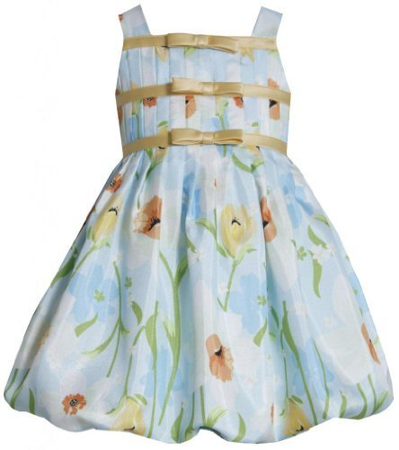 Aqua-Blue Yellow Floral Border Print Shantung Bubble Dress AQ2BA, Aqua, Bonni...
