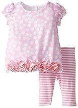 Baby Girls Infant Burnout Dot Rolled Rosette Border Bubble Dress/Legging Set,... image 2