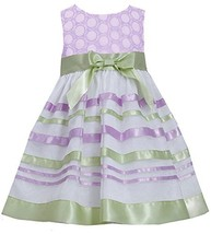 Little-Girls 2T-6X Embroidered Ribbon Organza Overlay Dress (6, Lavender)