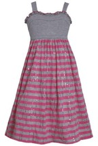 Grey Pink Solid and Stripe Sequin Knit Dress GY4MU, Grey, Bonnie Jean Tween G...