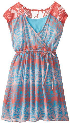 Bonnie Jean Big Girls' Crossover Printed Chiffon Dress, Coral, 7 [Apparel]