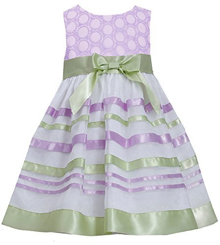 Little-Girls 2T-6X Embroidered Ribbon Organza Overlay Dress (6x, Lavender)