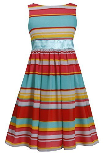 Big-Girls Little Girls 2T-6X Aqua Bold Stripe Cut Out Back Chiffon Dress (4, ...