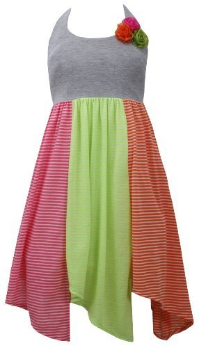 Grey Knit to Stripe Colorblock Hanky Hem Halter Dress GY3NA, Grey, Bonnie Jea...