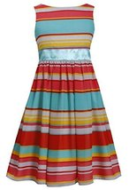 Big-Girls Little Girls 2T-6X Aqua Bold Stripe Cut Out Back Chiffon Dress (6X,...