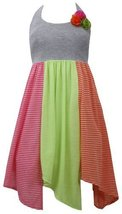 Grey Knit to Stripe Colorblock Hanky Hem Halter Dress GY3SP, Grey, Bonnie Jea...
