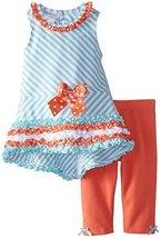 Bonnie Jean Little Girls' Stripe Knit Hi-Low Legging Set, Min, 3T [Apparel] B... image 2