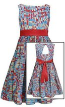 Little Girls Multi Print Chiffon Dress, Bonnie Jean, Coral, 5 [Apparel] image 1