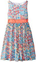 Little Girls Multi Print Chiffon Dress, Bonnie Jean, Coral, 5 [Apparel] image 2