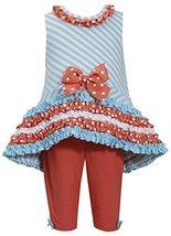 Baby-Girls Infant Mint-Blue Orange Bias Stripe High Low Knit Dress/Legging Se...