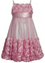 Pink Die Cut Bonaz Rosette Mesh Bubble Dress PK4MU, Pink, Bonnie Jean Tween G...