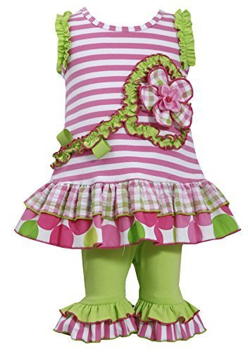 Baby Girls 3M-24M Flower Stem Knit to Mix Print Tier Dress/Legging Set (12 Mo...