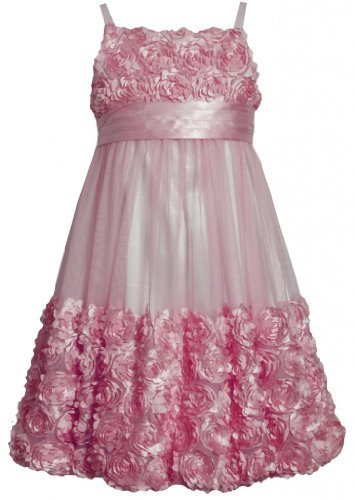 Pink Die Cut Bonaz Rosette Mesh Bubble Dress PK4TA, Pink, Bonnie Jean Tween G...