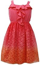 Tween Big Girls 7-16 Ruffley Knit to Ombre Lace Dress (7, Orange) [Apparel]