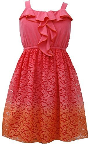Tween Big Girls 7-16 Ruffley Knit to Ombre Lace Dress (8, Orange) [Apparel]