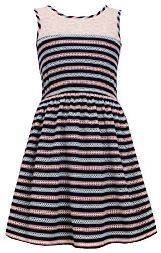 Little Girls Navy-Blue/Multi Illusion Lace Perforated Stripe Tank Dress, NV3N...