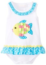 Bonnie Baby Baby-Girls Newborn Fish Applique Bubble, Turquoise, 6-9 Months