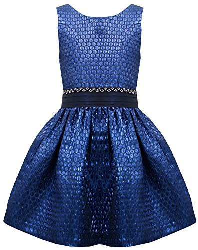 Little-Girls 4-6X Blue Iridescent Dotted Brocade Bow Back Dress, RY3NA, Royal...