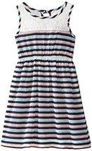 Bonnie Jean Little Girls' Novelty Stripe Knit Dress, Navy, 6X [Apparel]