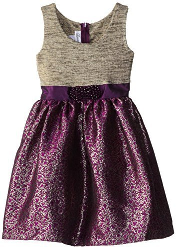 Bonnie Jean Little Girls' Foil To Brocade Waistline Dress, Purple, 4 [Apparel]