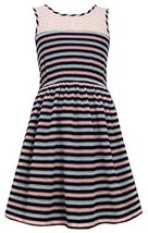 Big Girls Tween Navy-Blue/Multi Illusion Lace Perforated Stripe Tank Dress, N...