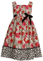 Bonnie Jean Little Girls' Pleated Bodice Empire Waist Dress with Roses Print,... image 1