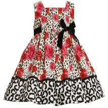 Bonnie Jean Little Girls' Pleated Bodice Empire Waist Dress with Roses Print,... image 2