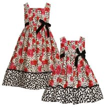 Size-2T BNJ-5500B RED IVORY BLACK ROSE LEOPARD ANIMAL PRINT Special Occasion ...