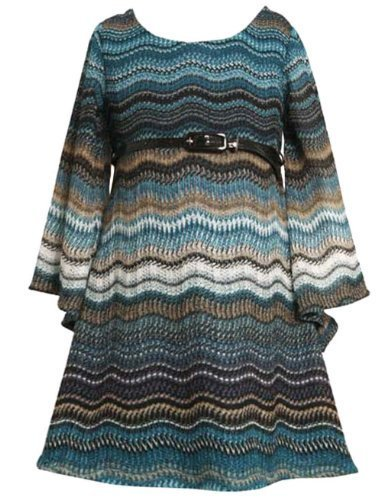 Bonnie Jean Little Girls 2T-6X Belted Flamestitch Angel Sleeves Knit Dress (4...