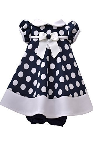 Baby Girls Navy-Blue/White Polka Dot Stretch Scuba Trapeze Dress, Navy, 18M