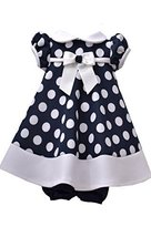 Baby Girls Navy-Blue/White Polka Dot Stretch Scuba Trapeze Dress, Navy, 18M