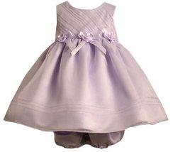 Lavender-Purple Bias Ribbon Rosette Waist Organza Dress LV1HB, Bonnie Jean Ba...