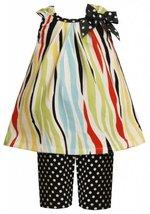Size-0/3M, Multi, BNJ-2115M, 2-Piece Multicolor Zebra Stripes and Dots Knit D...