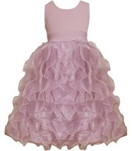 Pink Metallic Knit to Vertical Organza Ruffles Dress PK4MU, Pink, Bonnie Jean...