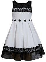 Little Girls 2T-6X Black White Pleated Texture Knit Illusion Lace Dress, BW3B...