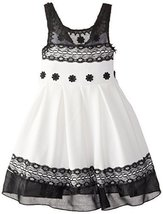 Bonnie Jean Little Girls' Knit To Lace Trimmed Dress, Black/White, 4 [Apparel]
