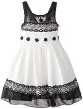 Bonnie Jean Little Girls' Knit To Lace Trimmed Dress, Black/White, 6 [Apparel] image 2