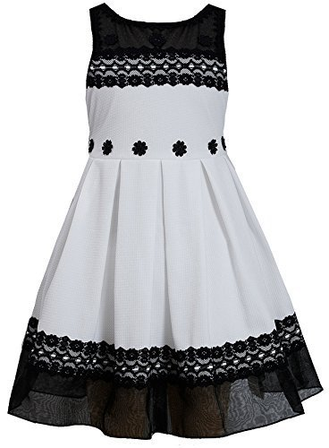 Little Girls 2T-6X Black White Pleated Texture Knit Illusion Lace Dress, BW3S...
