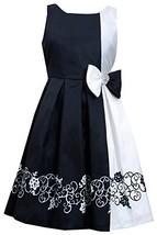 Bonnie Jean Little Girls Black/White Border Print Colorblock Shantung Dress (...