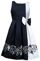 Bonnie Jean Little Girls Black/White Border Print Colorblock Shantung Dress (...
