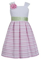 Little-Girls Pink/White Box Pleat Stripe Linen Lace Dress, PK3SP, Pink, Bonni...