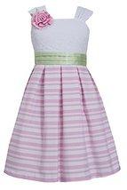 Bonnie Jean Big Girl Tween Pink/White Box Pleat Stripe Linen Lace Dress, Pink, 8