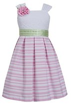 Little Girls 4-6X Pink/White Lace and Stripe Linen Dress, Bonnie Jean, Pink, 5