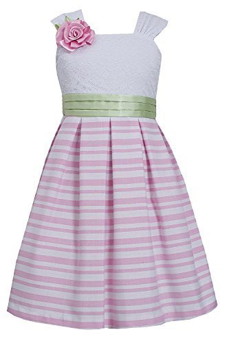 Little Girls 4-6X Pink/White Lace and Stripe Linen Dress, Bonnie Jean, Pink, 6