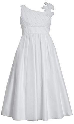 Big-Girls Tween 7-16 White Flower Shoulder Asymmetric Communion Dress, 7, Whi...
