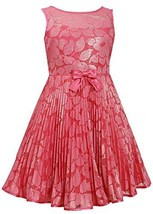 Little-Girls Coral Illusion Floral Lace Sunburst Crystal Pleat Dress, CR3SA, ...