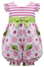Baby Girls 3M-24M Pink Green Stripe Knit to Frog Floral Print Romper (3-6 Mon...