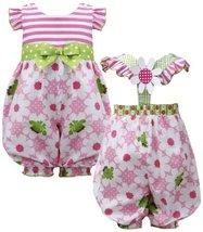 Pink Green Stripe Knit to Frog Floral Print Romper PK0CH, Pink, Bonnie Jean B...
